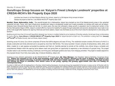 GuruKrupa Group focuses on 'Kalyan's Finest Lifestyle Landmark' properties at CREDAI-MCHI's 9th Property Expo 2020